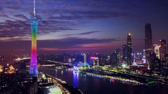 夜幕下的广州塔和珠江新城(12月2日摄)